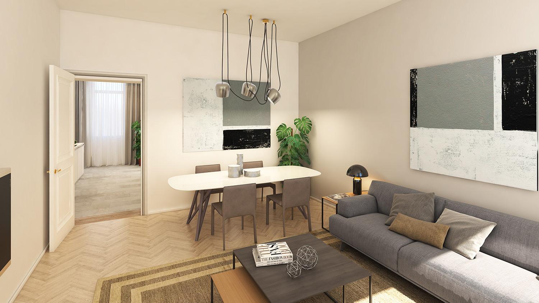 Flatshot Referenz Visualisierung Wohnzimmer